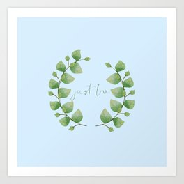 watercolor green and blue tree leaves wreath Art Print