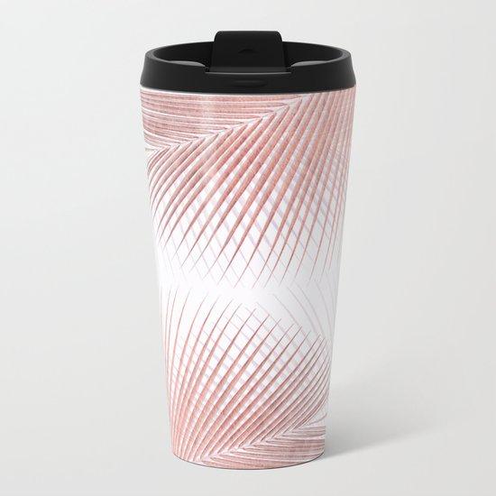 Palm leaf synchronicity - rose gold Metal Travel Mug