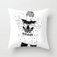 michael scott Throw Pillows featuring Scott by Les Gutiérrez