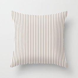 Mattress Ticking Narrow Striped Pattern in Chocolate Brown and White Throw Pillow
