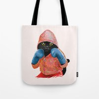 jazzberry Tote Bags featuring Boxing Cat 2  by Tummeow