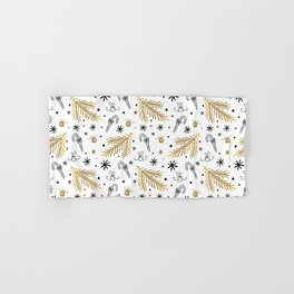 Christmas Pattern Gold Hand & Bath Towel