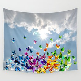 Butterflies in blue sky Wall Tapestry