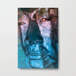 Buddha Face redblue Metal Print
