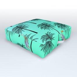 Tropical Teal Yellow Orange Pineapple Black Palm Tree Pattern Outdoor Floor Cushion