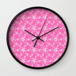 Pink Hawaiian Hibiscus Flowrs Wall Clock