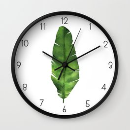 Banana leaf. Watercolor Illustration. Wall Clock