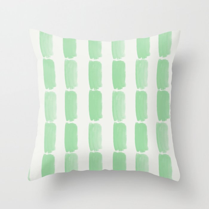 Pastel Mint Green Grid Brushstrokes on Linen White Pairs to Coloro 2020 Color of the Year Neo Mint Throw Pillow