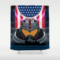 pacific rim Shower Curtains featuring Pacific Rim v2 by milanova