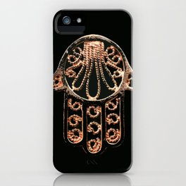 Golden Hamsa Hand On A Black Background #decor #society6 iPhone Case