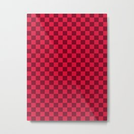 Crimson Red and Burgundy Red Checkerboard Metal Print