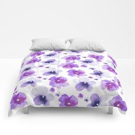 Modern purple lavender watercolor floral pattern Comforters