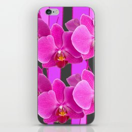 MODERN CHARCOAL GREY COLOR CERISE PURPLE ORCHIDS iPhone Skin