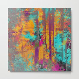 Burst Of Energy! - Abstract, orange, blue, pink, purple and green oil painting  Metal Print