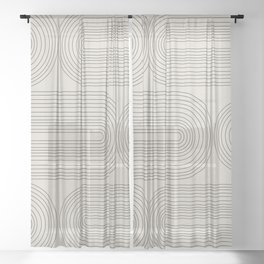 Minimalist, Line Art Modern Sheer Curtain