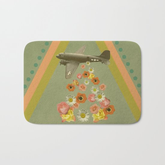 in my world, flowers come out of army planes Bath Mat