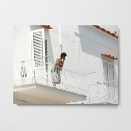 Lady on Balcony Metal Print