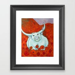 Bull In Poppies Framed Art Print