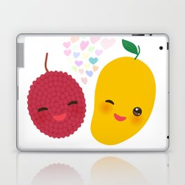 I love you Card design with Kawaii lychee and mango with pink cheeks and winking eyes Laptop & iPad Skin