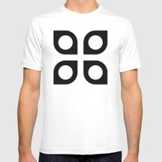 Curved circle pattern Mens Fitted Tee MEDIUM White