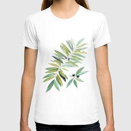 Leaves Berries Sage Green Turquiose Nature Art Floral Watercolor T-shirt