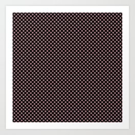 Black and Nostalgia Rose Polka Dots Art Print