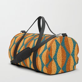Mod Leaves 2 in Terracotta, Mustard and Teal Duffle Bag