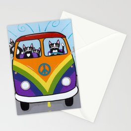 Rainbow Love Bus Cats Stationery Cards