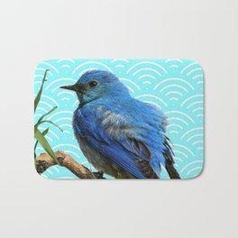 AQUA SPRING BLUE BIRD ART Bath Mat