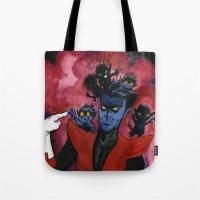 nightcrawler Tote Bags featuring Kurt & Bamfs by Fiendish Thingy Art