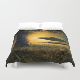 UFO at Twilight Duvet Cover