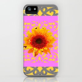 Grey Pink Red Golden Sunflowers Yellow Pattern Art iPhone Case