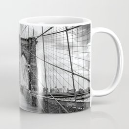 Brooklyn Bridge, New York City (rustic black & white) Coffee Mug