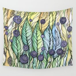 Dandelions.Hand draw  ink and pen, Watercolor, on textured paper Wall Tapestry