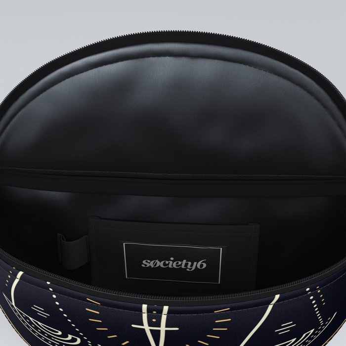 Libra Zodiac Golden White on Black Background Fanny Pack