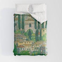 "Gustav Klimt ""Church in Cassone (Landscape with Cypresses)"" Comforters"