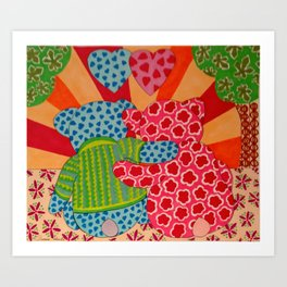 Valentine Bears Art Print