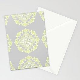 Pale Lemon Yellow Lace Mandala on Grey Stationery Cards