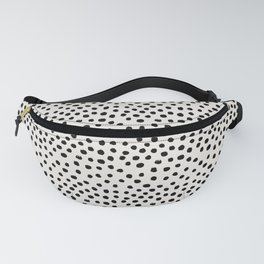 Preppy brushstroke free polka dots black and white spots dots dalmation animal spots design minimal Fanny Pack