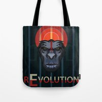 planet of the apes Tote Bags featuring Dawn of the Apes by milanova