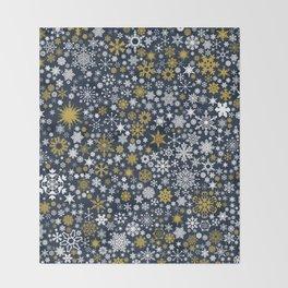 A Thousand Snowflakes in Twilight Blue Throw Blanket