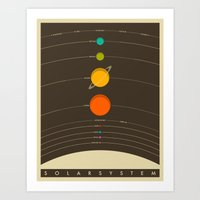 space Art Prints featuring Solar System by Jazzberry Blue