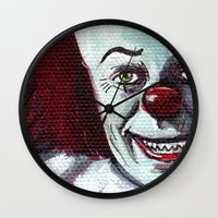 pennywise Wall Clocks featuring Pennywise the Clown by Minerva Torres-Guzman