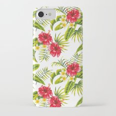 Hibiscus, plumeria and banana leaves pattern iPhone 7 Slim Case
