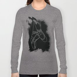 Outline of Ballet Pointe Shoes on Black Background Long Sleeve T-shirt