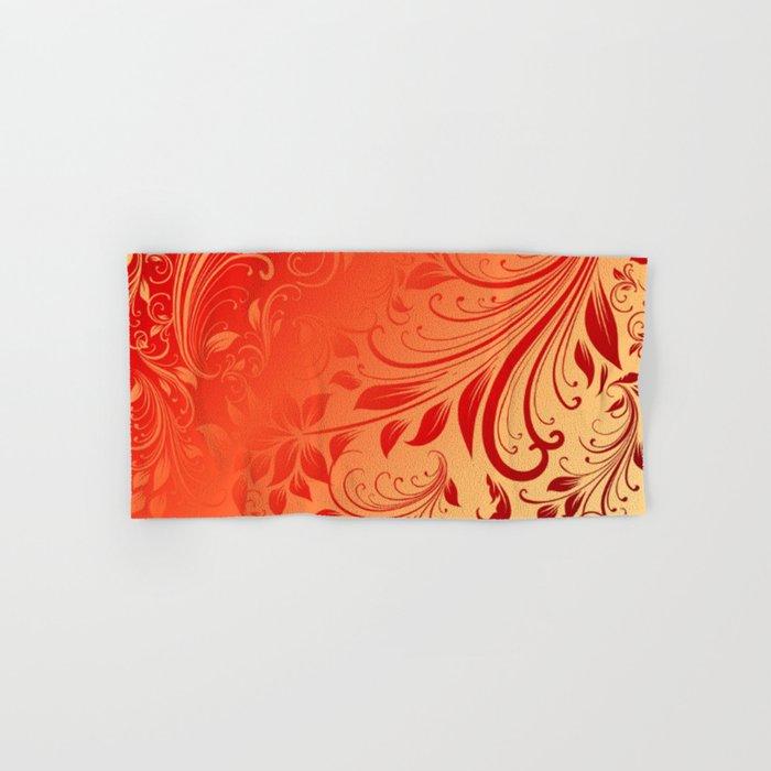Orange red swirls leaves  Hand & Bath Towel