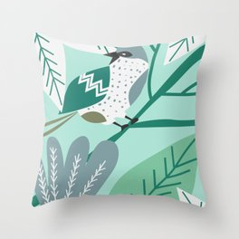 Sparrow in blue Throw Pillow