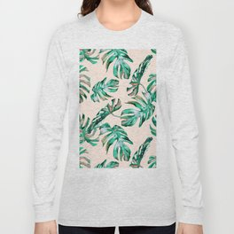 Tropical Palm Leaves Coral Greenery Long Sleeve T-shirt