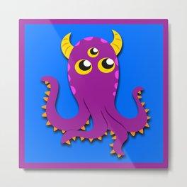 Purple Squid Thing Metal Print