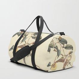 Vintage brown ivory bird floral tree branch Duffle Bag